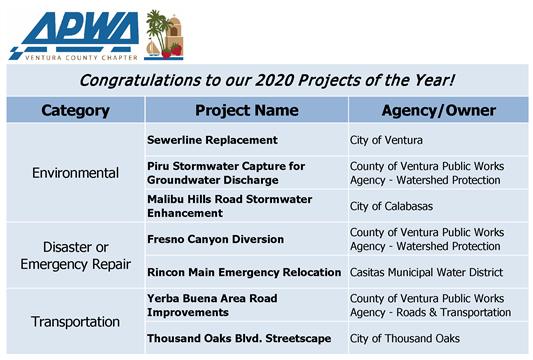 Congratulations to our 2020 Projects of the Year!